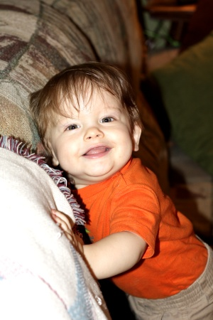 He's a very happy baby, and he's almost one.........